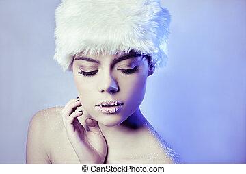 Beautiful seductive winter woman