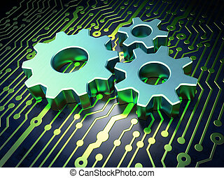 Web development concept: Gears on circuit board background -...
