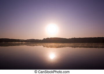 Sunrise. - Sunrise over misty lake. Mazury, Poland. aRGB.
