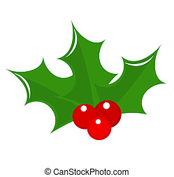 Holly berry icon Christmas symbol illustration