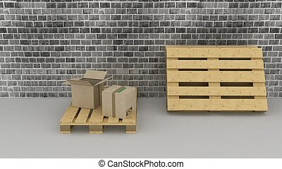 brick wall background with cardboard boxes and pallets -...