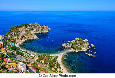 Aerial view of Isola Bella beach coast in Taormina, Sicily,...