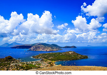 Landscape scenic view of Lipari islands, Sicily, Italy -...