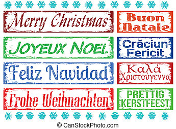 Merry Christmas stamps set in different languages, vector...