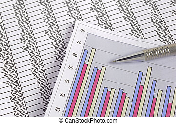 business finance chart with data and pen