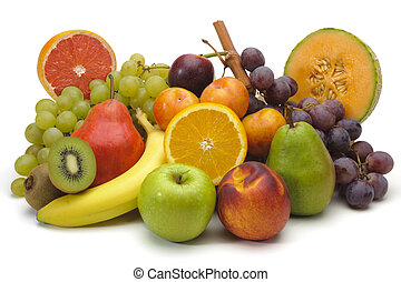 fresh mixed fruits on plate over white background