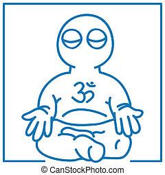 little man in meditation