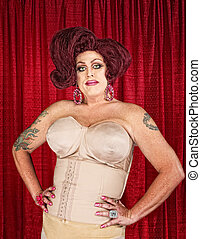 Drag Queen in Girdle - Big confident drag queen in girdle...