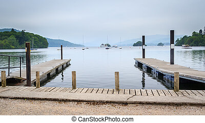 Windermere Lake District - Jetties on Windermere in the...