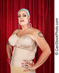 Tall Man in Drag - Tall white male in drag with tattoos on...