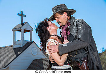 Romantic Old West Man and Woman Embrace