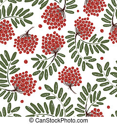 Rowan branch with berries, seamless pattern for your design