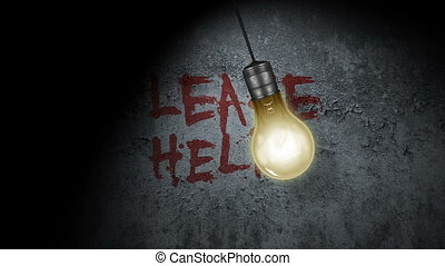Please Help - A swinging light bulb with Please Help written...