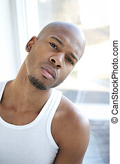 Portrait of an attractive young black man - Close up...