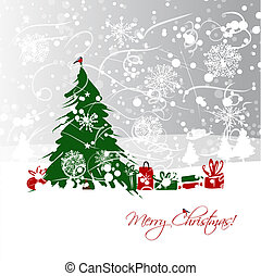 Christmas tree with gifts, postcard design