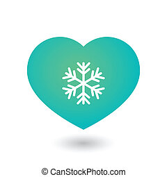 Cold heart with snow flake