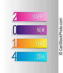 Happy New Year 2014 colorful label illustration