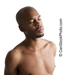 Young african american man with eyes closed - Close up...