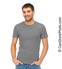 man in blank grey t-shirt - clothing design concept -...