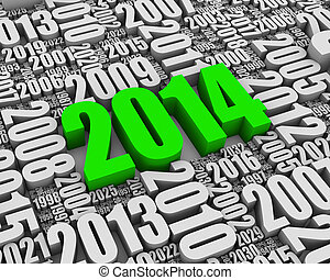 Red 2014 - Year 2014 red 3D text surrounded by other dates....