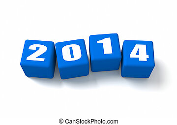New Year 2014 Blue Cubes - New Year 2014 Blue cubes. Part of...