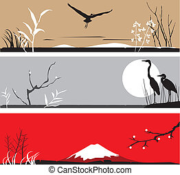 heron - vector banners with asian lanscape