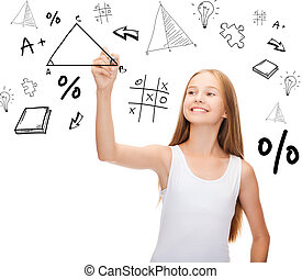 smiling girl in blank white shirt drawing triangle -...