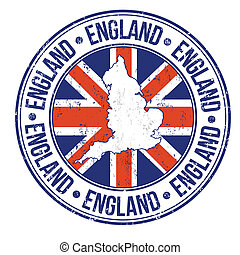 England stamp - Grunge rubber stamp with england flag, map...