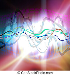 Graphic Audio Waveform - An audio waveform over an abstract...