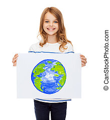 smiling little child holding picture of planet - creation,...