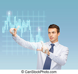 man working with forex chart on virtual screen
