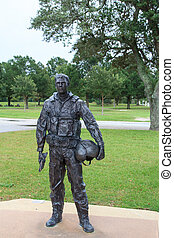 Navy pilot statue - A bronze statue of an USA navy pilot