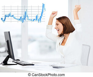 businesswoman with computer in office - business, office,...