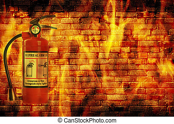 concept fire - fire extinguisheron wall with flame