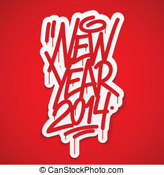 New year 2014 label lettering