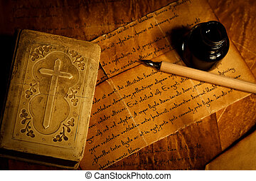 Prayer book with old letter - Old prayer book with ink, pen...