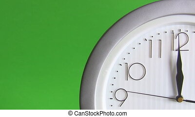Electric clock isolated on green - View of a quarter of...