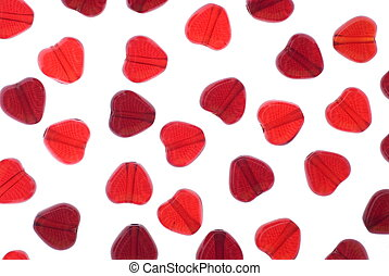 heart beads - red heart beads isolated on white