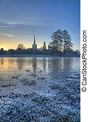 Frozen floodplain, Worcestershire - Floodplains at...