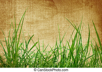 Green grass on old paper