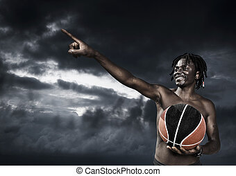 Basketball Player - Portrait of young man street basket...