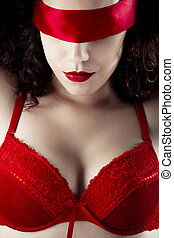 Girl with blindfold - Sexy woman with a red lingerie and...