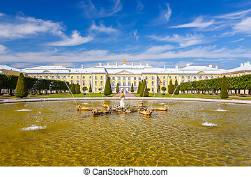 Peterhof, St Petersburg - Park in Peterhof, St Petersburg,...