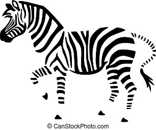 Zebra - Stylized vector illustration of a zebra outlined by...