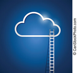 border cloud computing and stairs. illustration