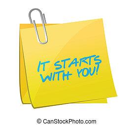 aquilo, começa, tu, poste, Ilustração,...