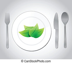 eating your green food concept illustration