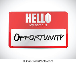 hello my name is opportunity name tag illustration design...