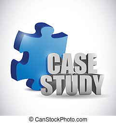 puzzle piece and case study sign illustration design over a...