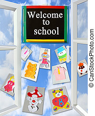 opened window with different children's pictures and school